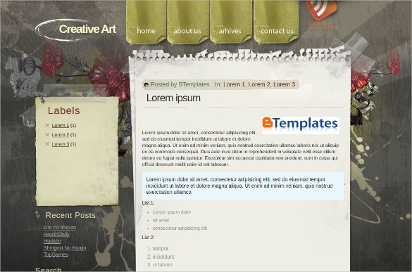 Creative Art Blogger Website Template
