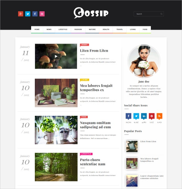 Gossip Creative Blogger Website Template