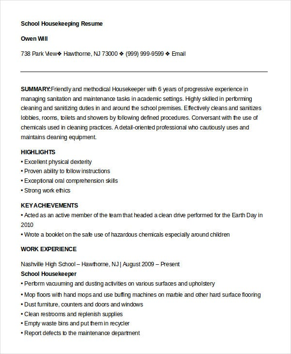 example school housekeeper resume template - Housekeeping Resume Samples