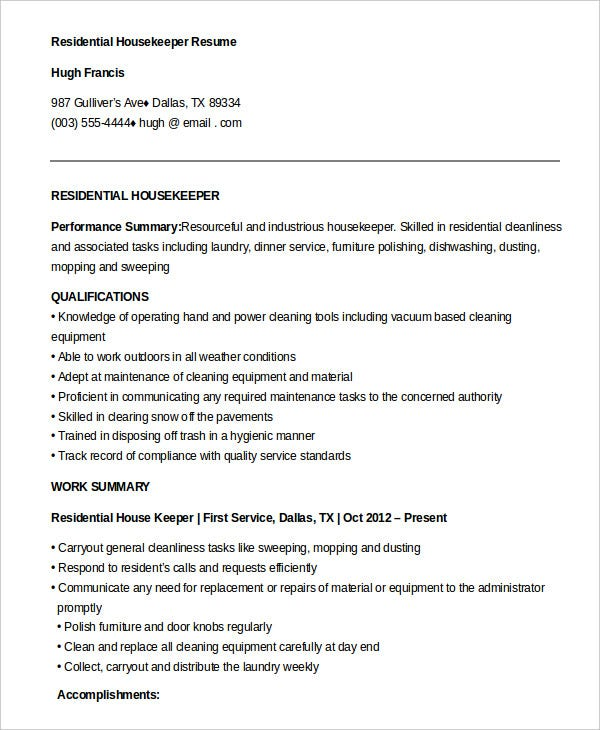 Free Download Residential Housekeeper Resume  Housekeeper Resume Sample