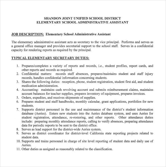 Elementary School Administrative Assistant Sample Job Description Free  Download  Duties Of Administrative Assistant