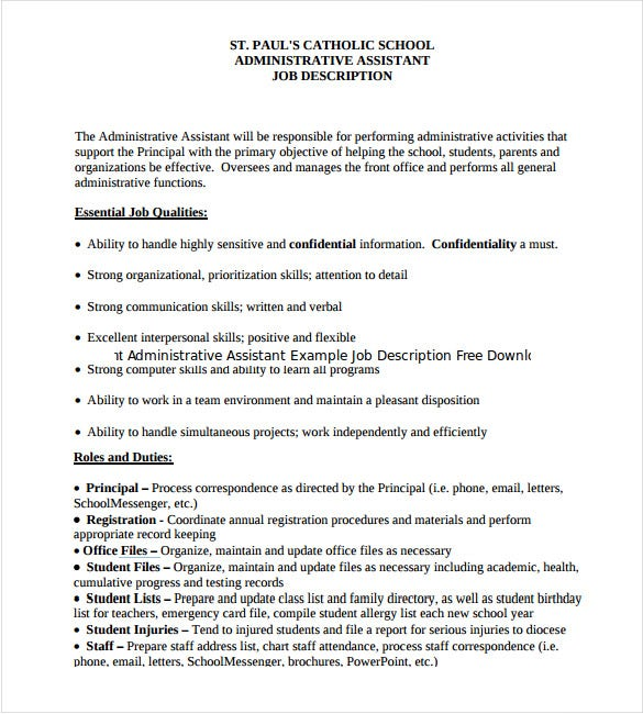 Sample Job Description Administrative Assistant Administrative