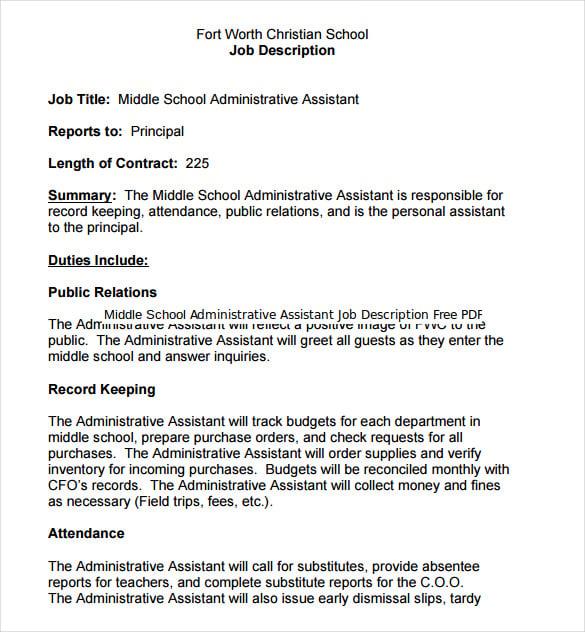 Administrative Assistant Job Duties – Contract Administrator Job Description