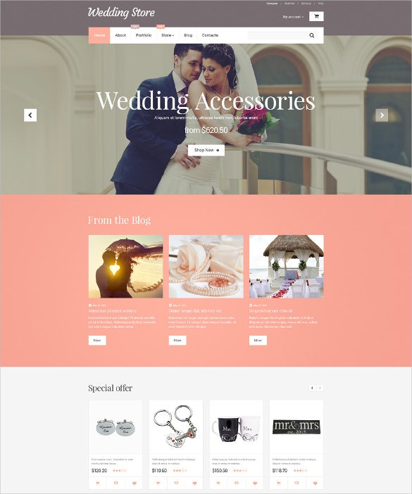 wedding store woocommerce blog template