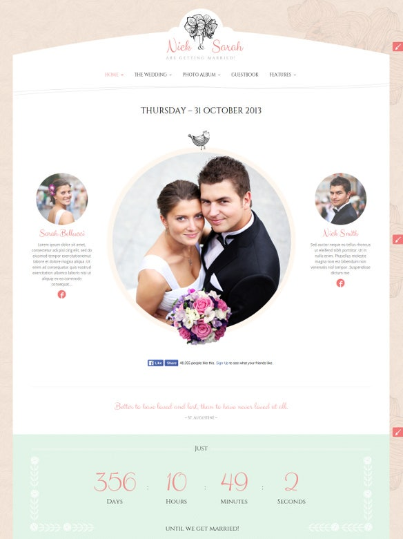 wedding day responsive blog theme