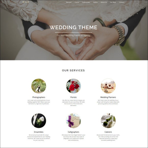 wedding agency page blog template