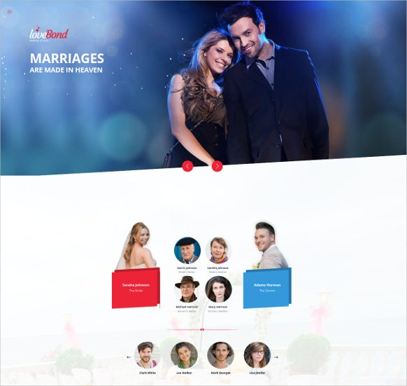 responsive one page wedding template