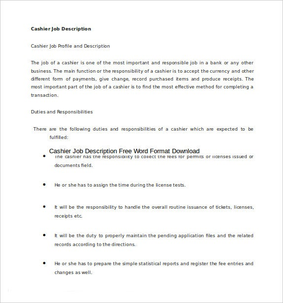cashier job description free word format downloads