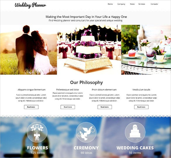 wedding planner website html5 template