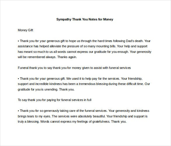 Sympathy Thank You Note Template   Free Word Excel Pdf Format