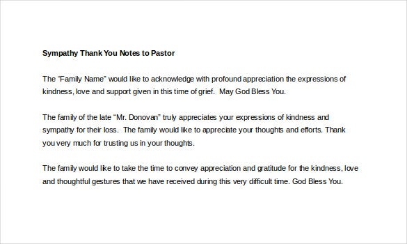 sympathy thank you notes to pastor