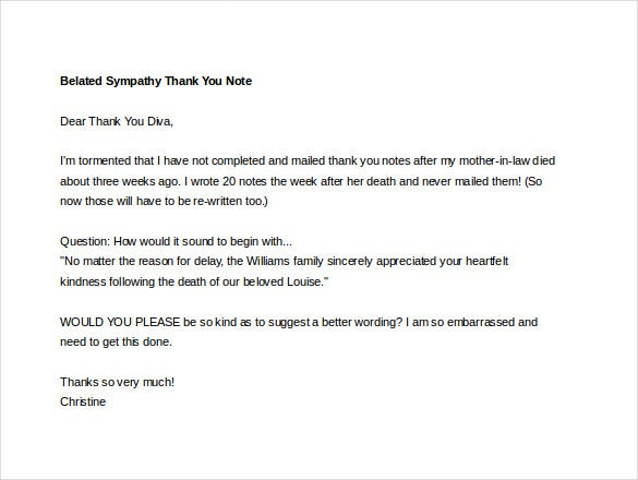 belated sympathy thank you note