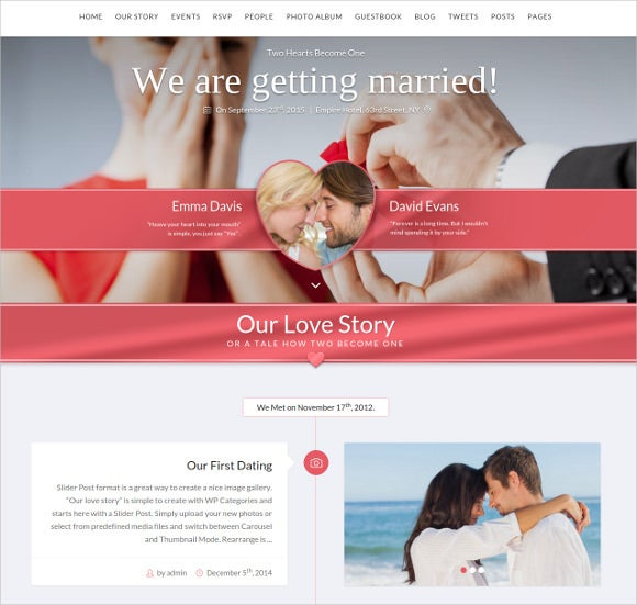 responsive wedding wordpress html5 template