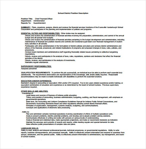 chief financial officer school district job description free pdf format