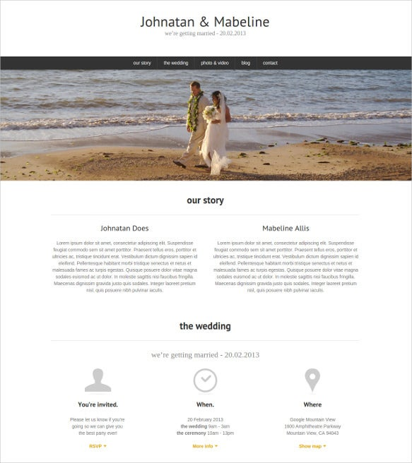 one page wedding html5 theme