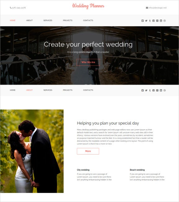 wedding planner one page html5 theme