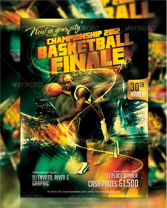 basketball championship final brocure template psd