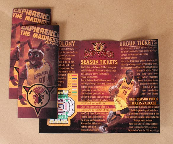 mad ants basket ball ticket brochure template indesign format