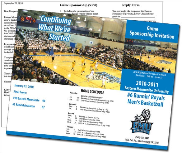 basketball game sponsorship brochure template