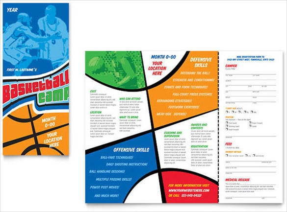 download basketball sports camp brochure template