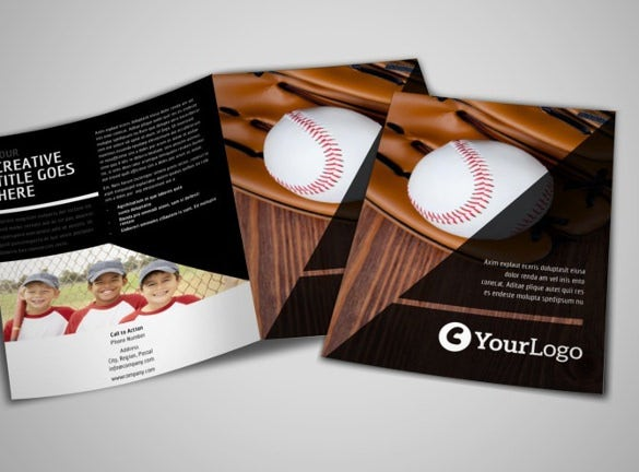 basketball sports camp bi fold brochure template