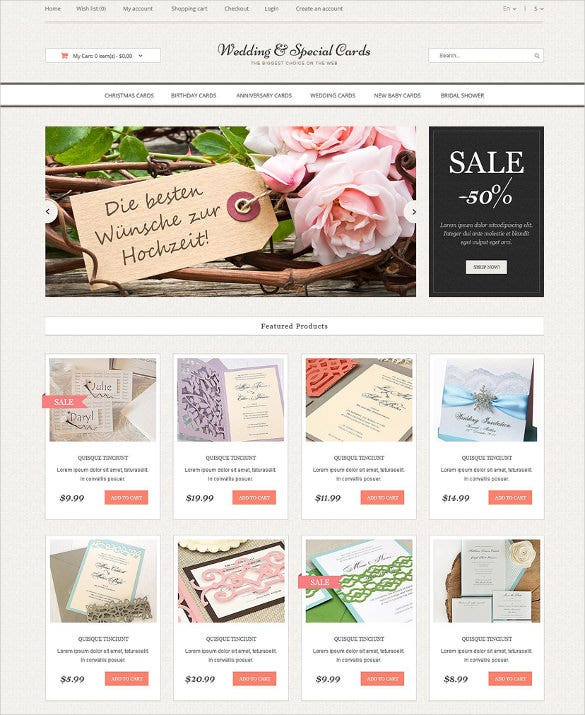 wedding cards store opencart bootstrap template