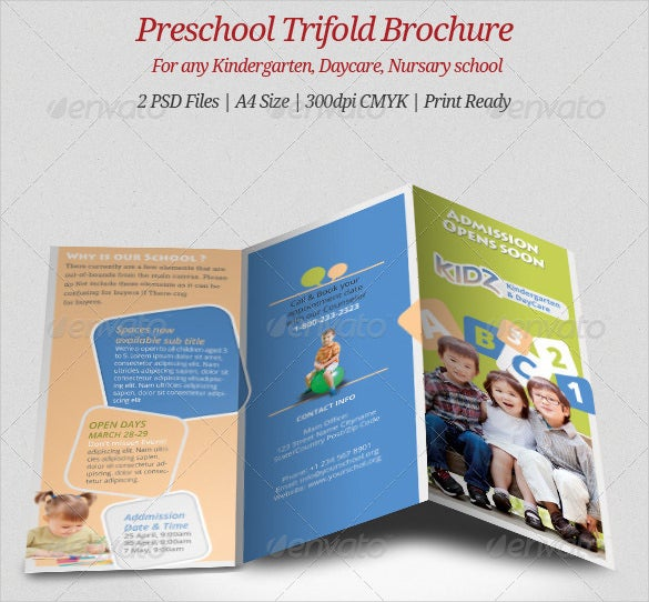 Preschool Brochure Template. Day Care Preschool Trifold Brochure ...