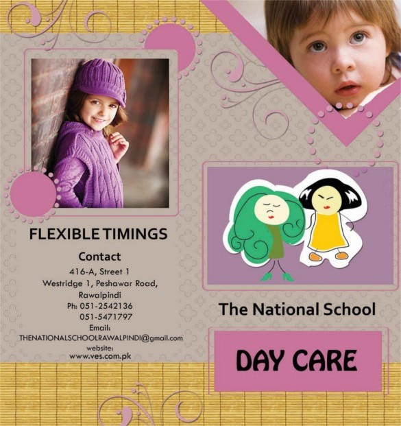 free download kids daycare brochure template