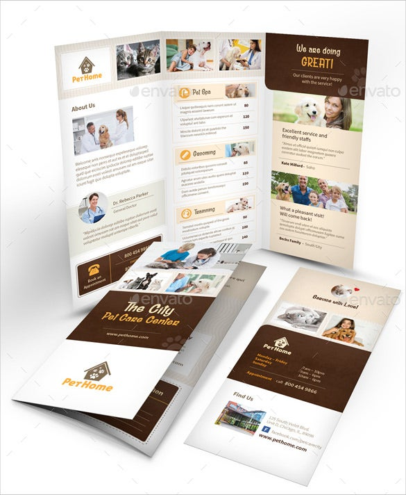 Pet Care Trifold Brochure 3 Fold Template Indesign