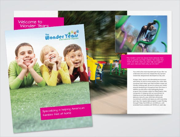 Daycare Brochure Templates Free PSD EPS Illustrator AI PDF - Child care brochure template free