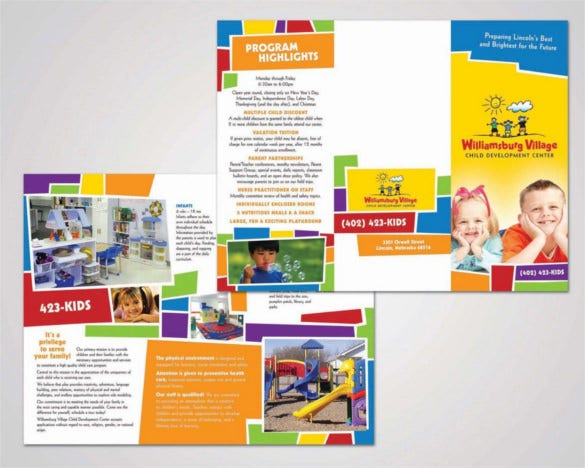 child development day care brochure template