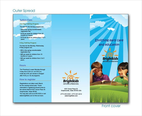 14 daycare brochure templates free psd eps for Preschool brochure template