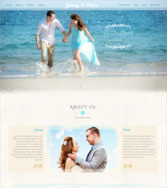 beach wedding wordpress bootstrap template