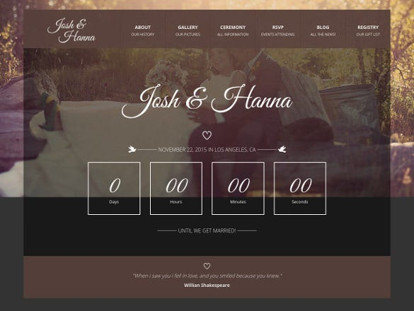 bootstrap wedding template for lovers