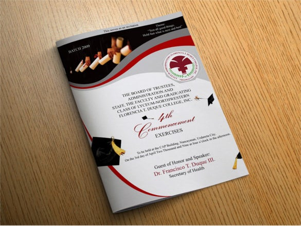 14 graduation brochure templates free psd eps for Program brochure templates
