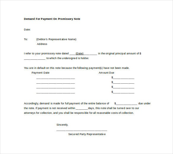 demand for payment on promissory note word free download