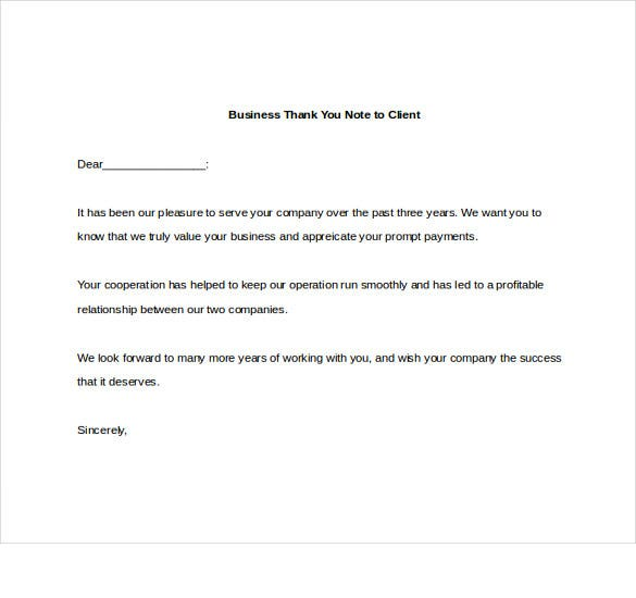 business thank you note to client