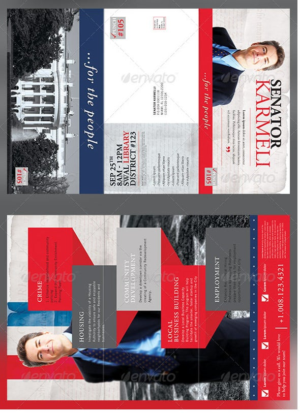 large election political tri fold brochure photoshop