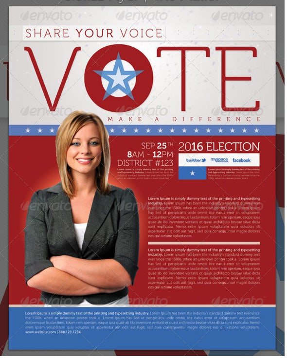 vote election full page brochure template psd format
