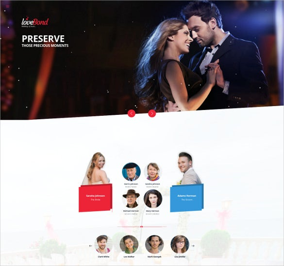 love bond responsive one page wedding bootstrap template