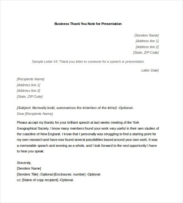 business thank you note for presentation