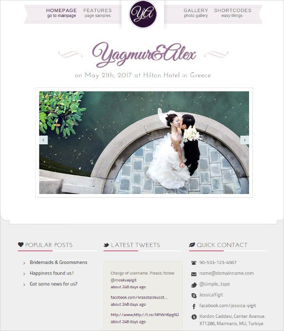 wedding day unique minimal bootstrap template