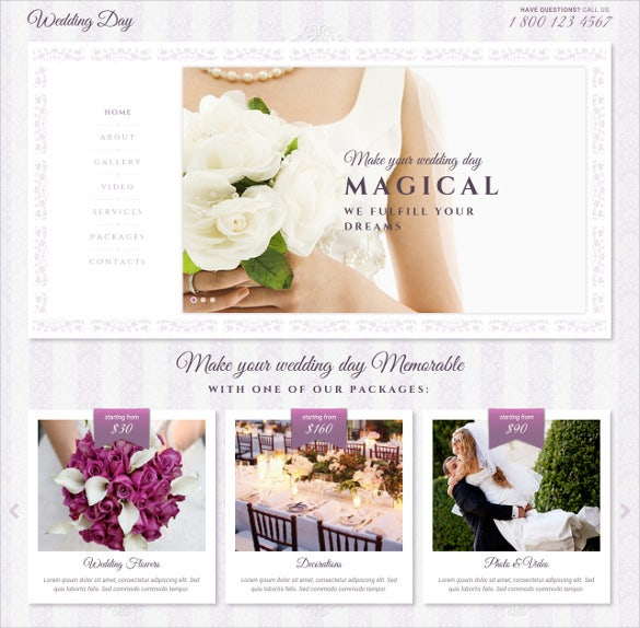 responsive wedding day bootstrap theme
