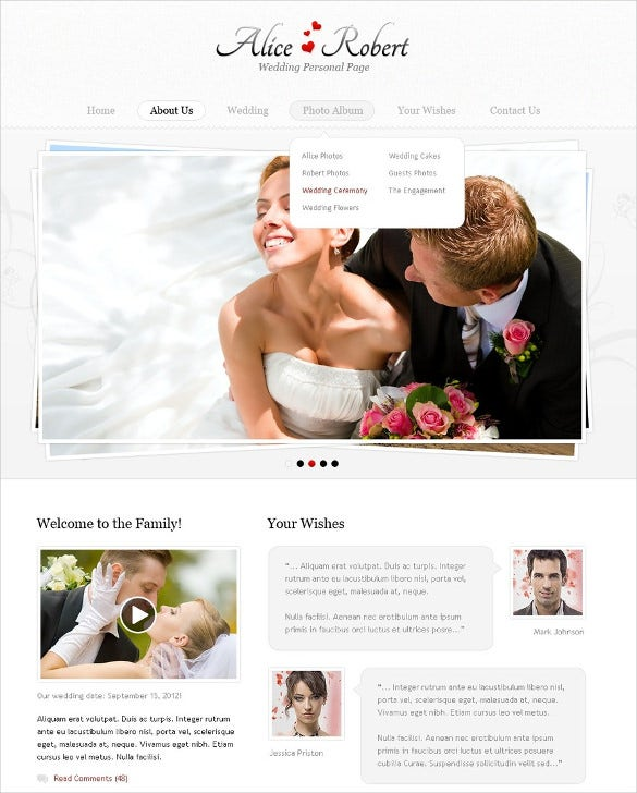responsive wedding psd theme