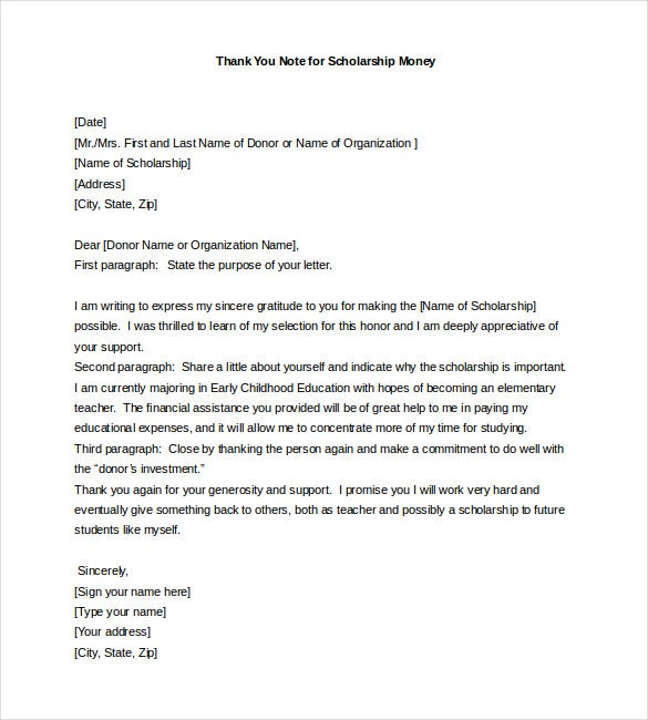 Thank You Note For Scholarship   Free Word Excel Pdf Format
