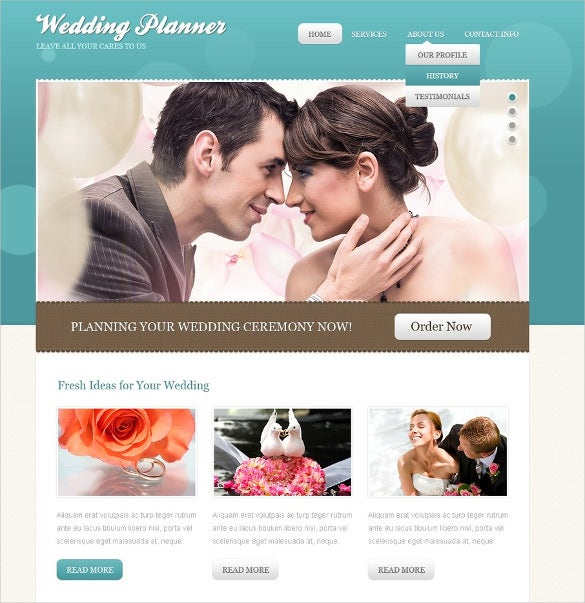 wedding planner psd template