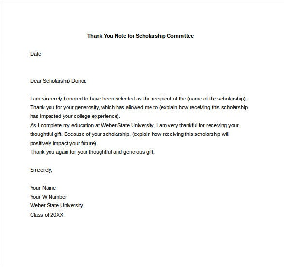 thank you note for scholarship committee