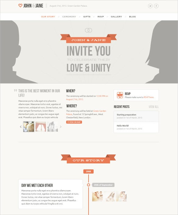 creative wedding psd template