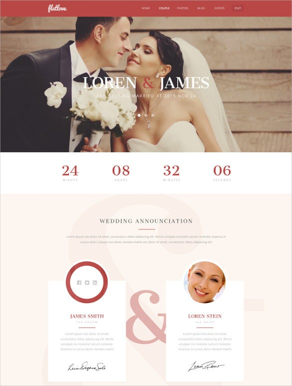 flat onepage wedding psd theme
