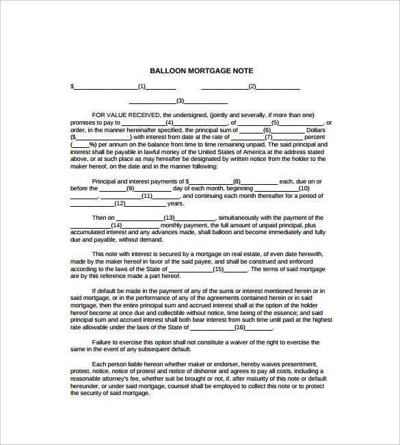 Balloon Mortgage Note Free PDF Template Pertaining To Mortgage Note Template